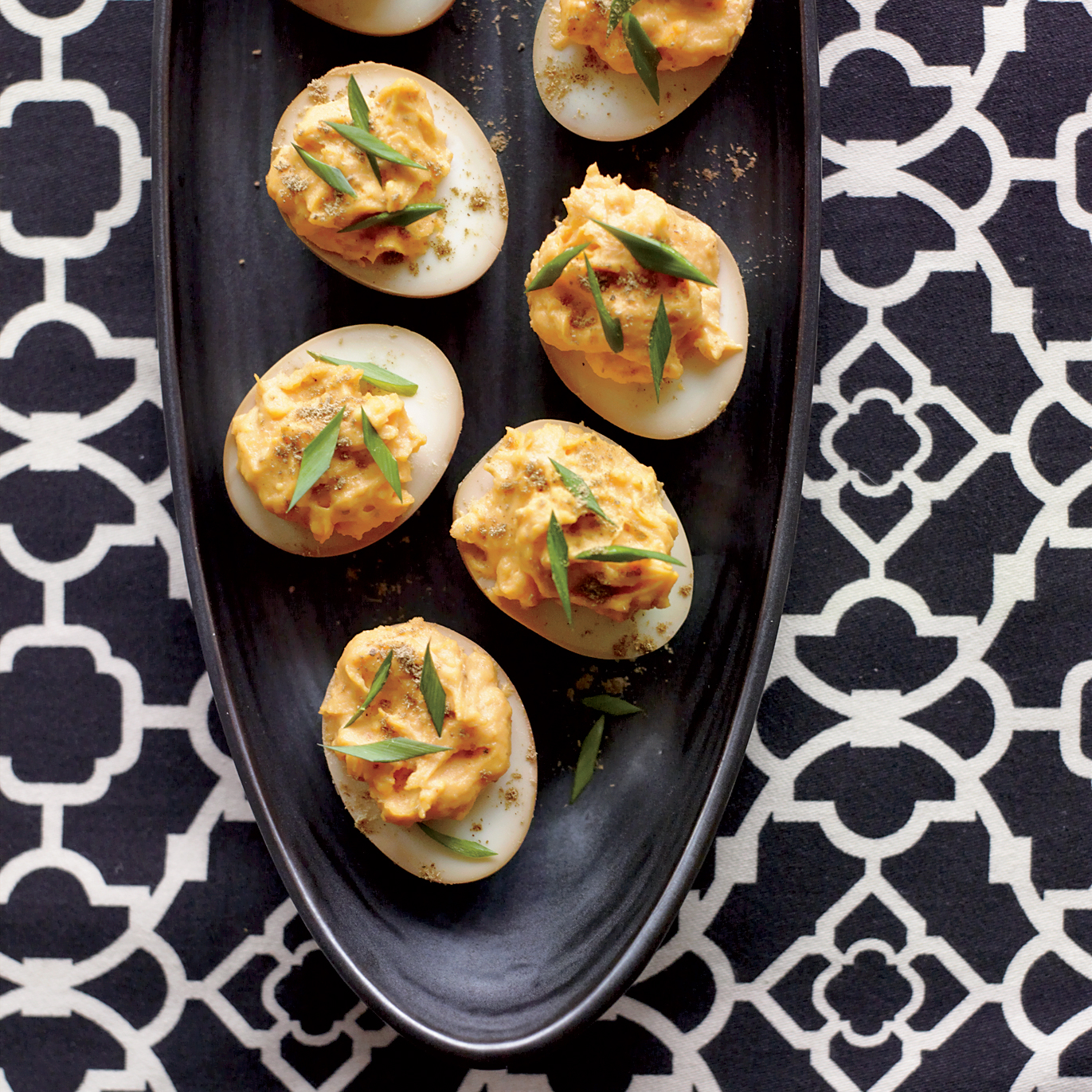 Sriracha and Wasabi Deviled Eggs