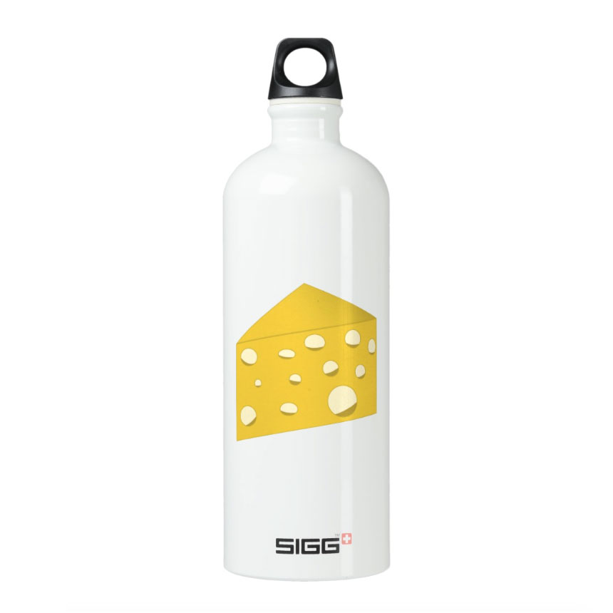 food-themed, travel, cheese, water bottle