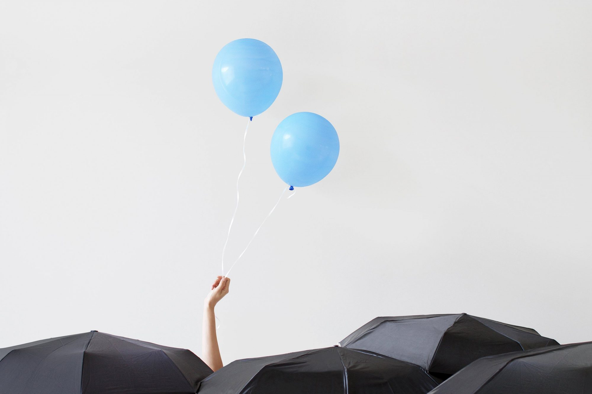 umbrellas ballons mental health self betterment happiness motto stock
