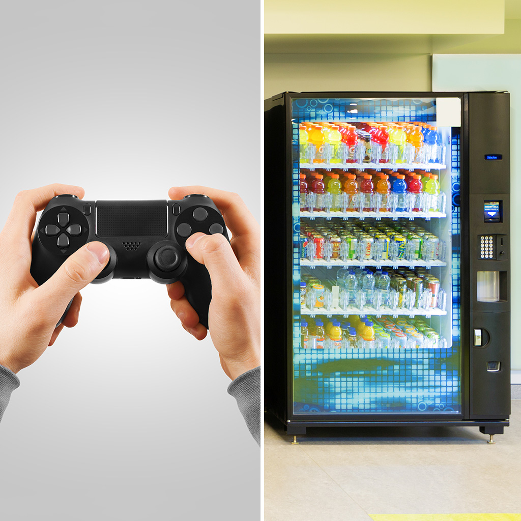 vending machines, video games