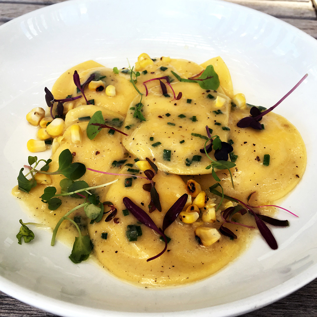 Labor Day, corn ravioli, Verde