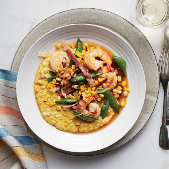 Day 20: Fresh Corn Grits with Shrimp