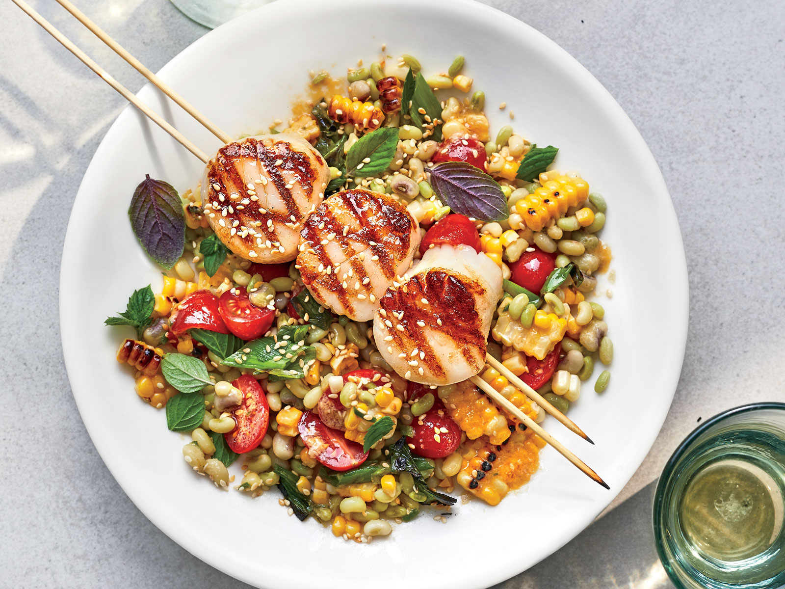 Grilled Scallops with Miso-Corn Salad