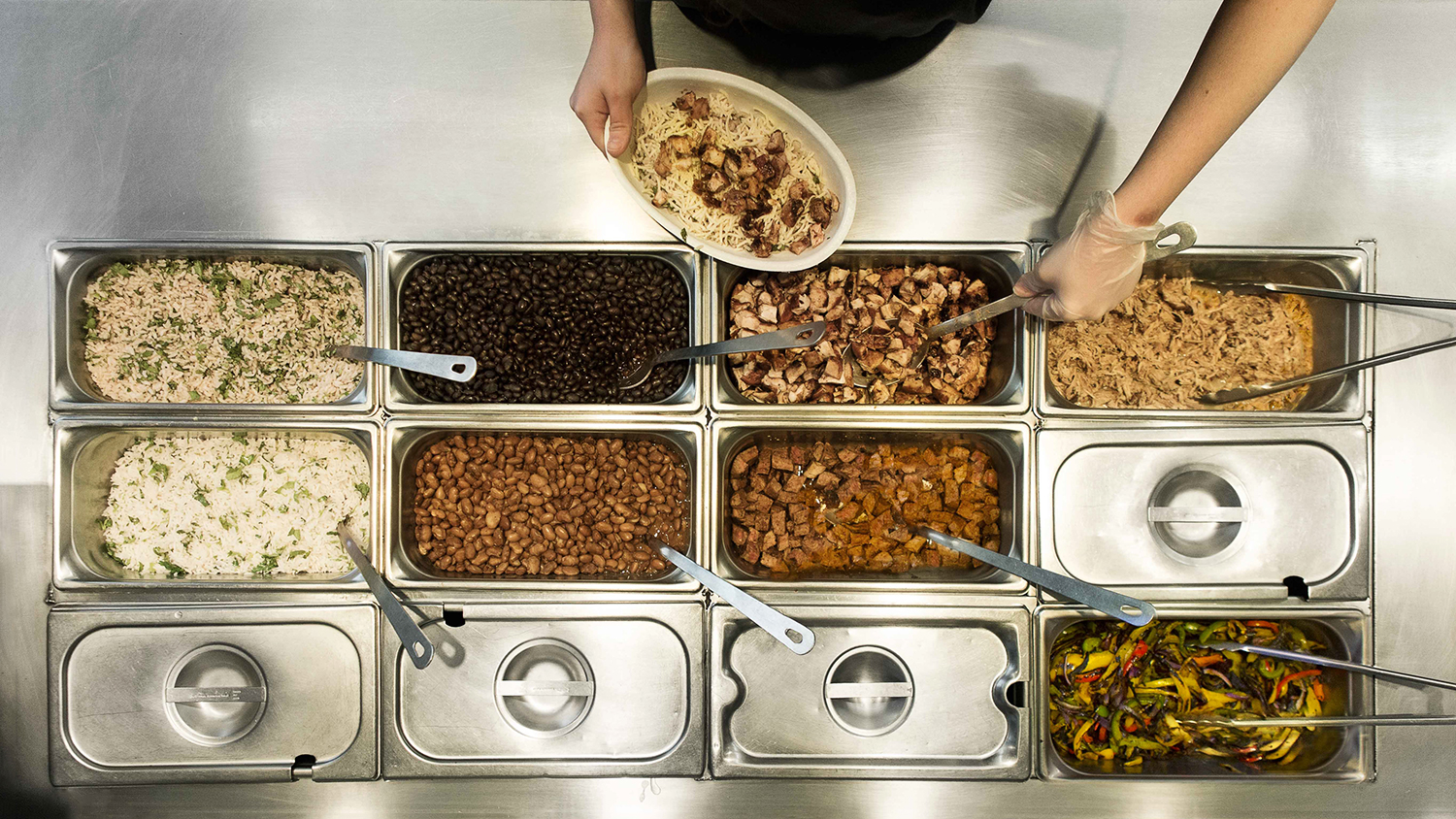 chipotle overhead shot of meats