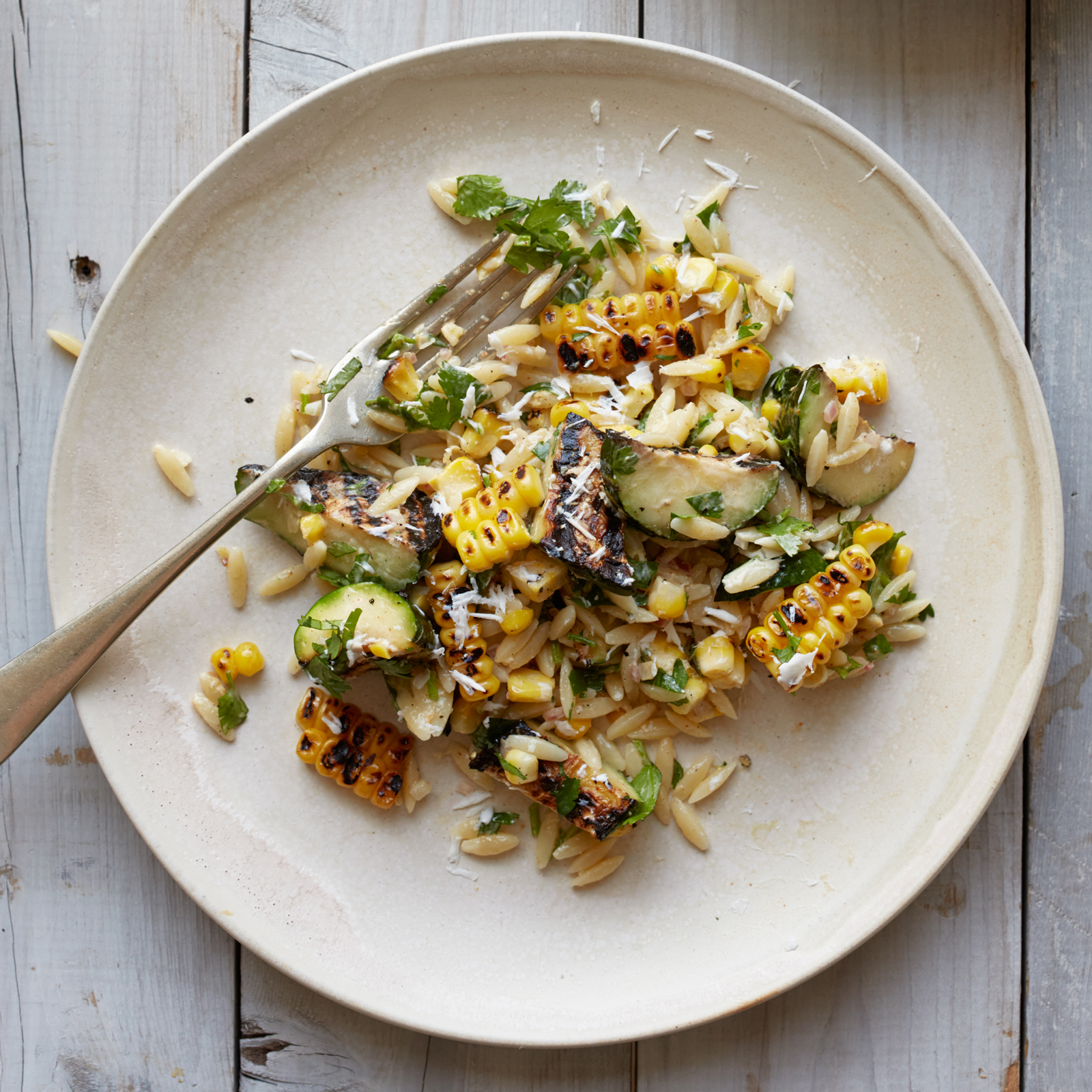 Corn-and-Zucchini Orzo Salad with Goat Cheese Recipe - Kay ...