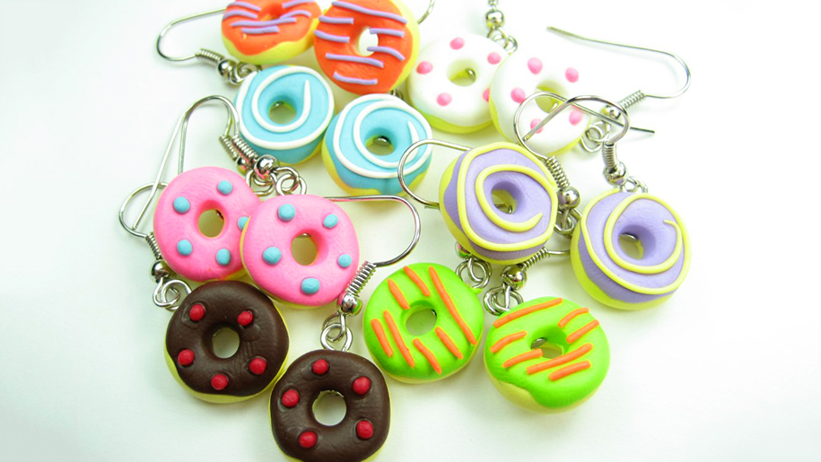 different colored doughnut earrings