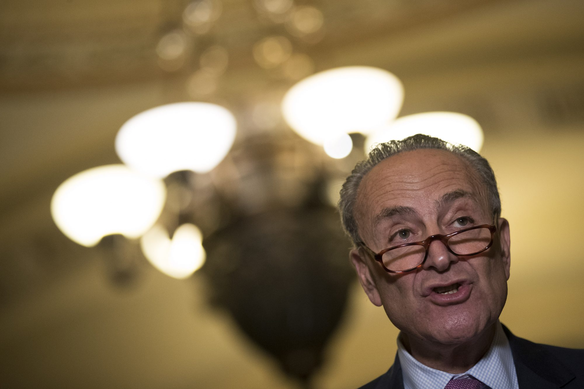 Senate Minority Leader Chuck Schumer (D-NY) speaks at a press conference following a closed-door Senate Democrat conference meeting on Capitol Hill, June 27, 2017 in Washington, DC.