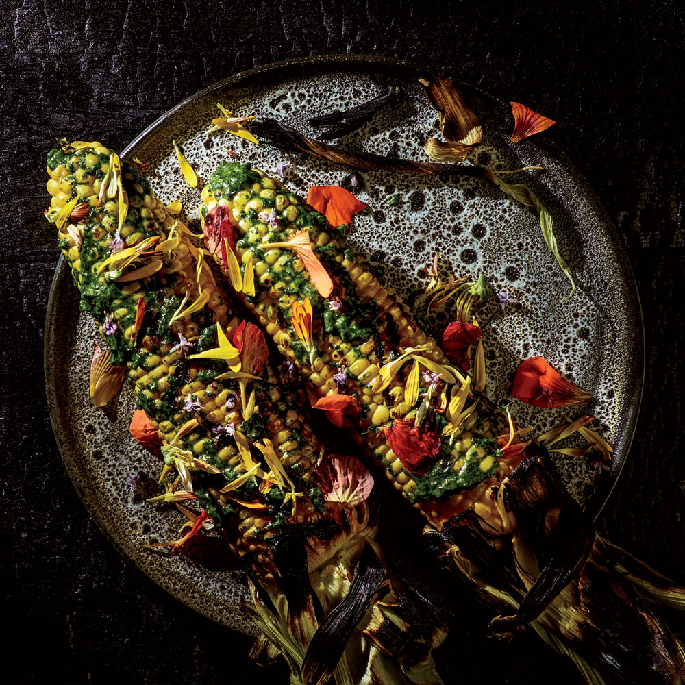 Grilled Corn with Nasturtium Emulsion 