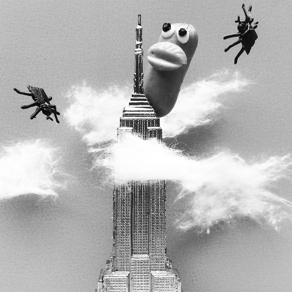 black and white Godzilla scene