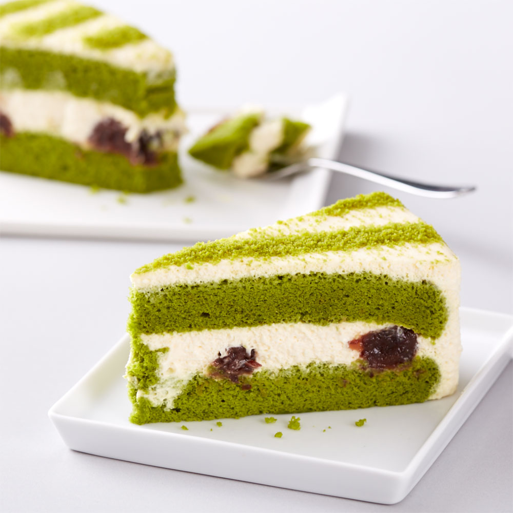 Green Tea Red Bean Cake