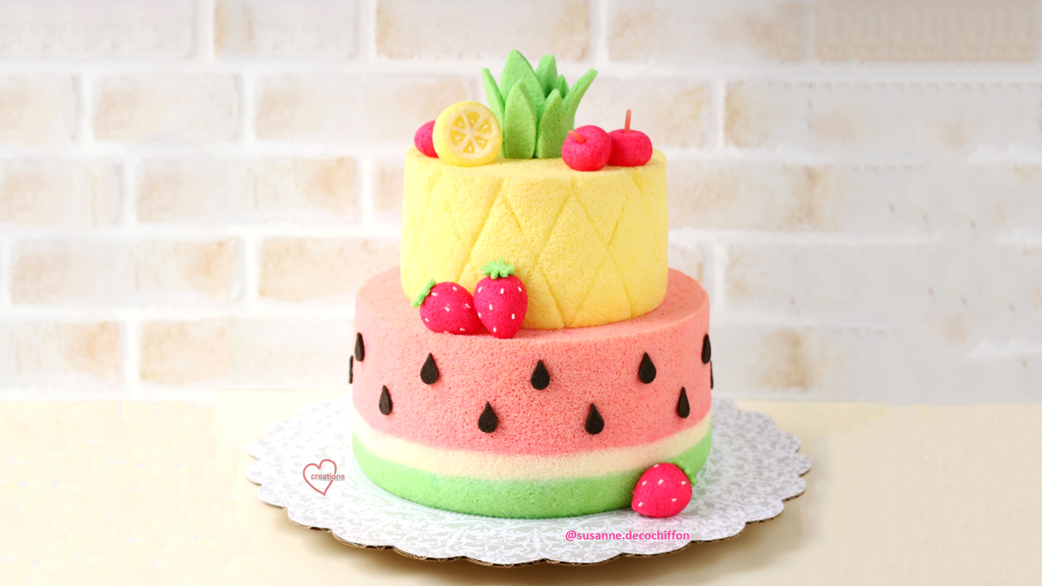 watermelon and pineapple chiffon cake