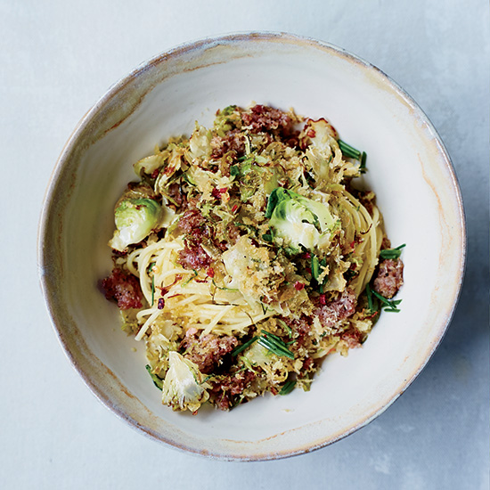 Spaghetti with Brussels Sprouts & Sausage Breadcrumb Topping