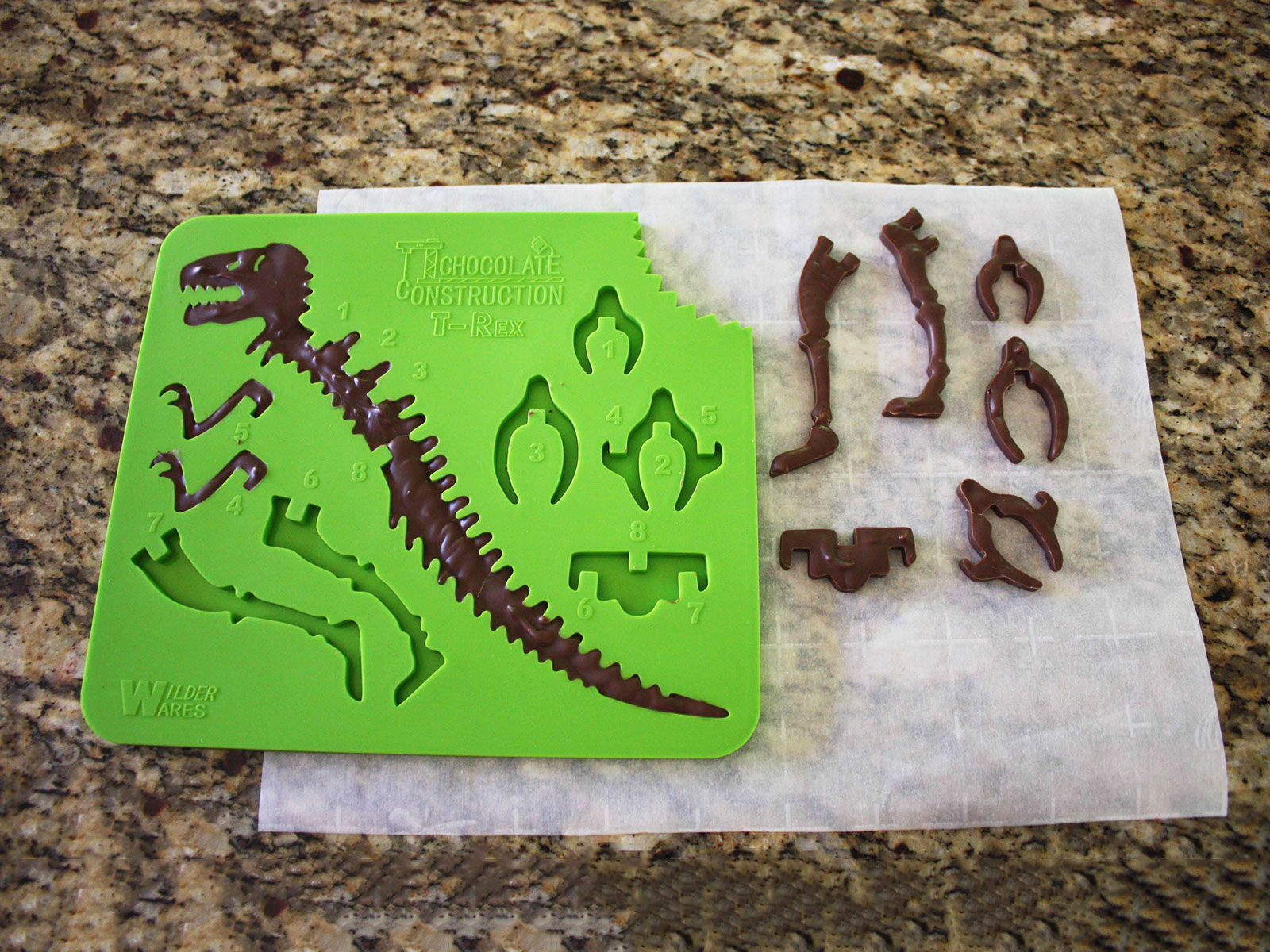 chocolate construction mold with pieces