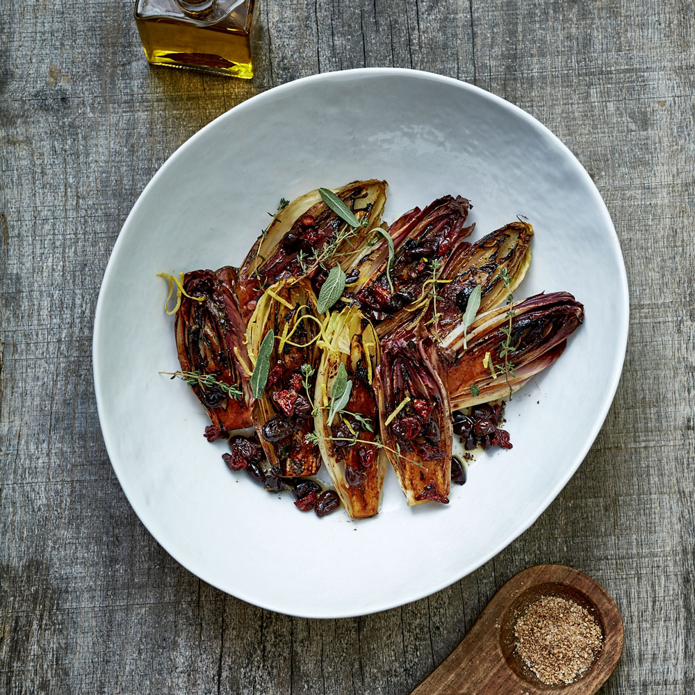 Grilled Endives with Sun Dried Tomato Relish