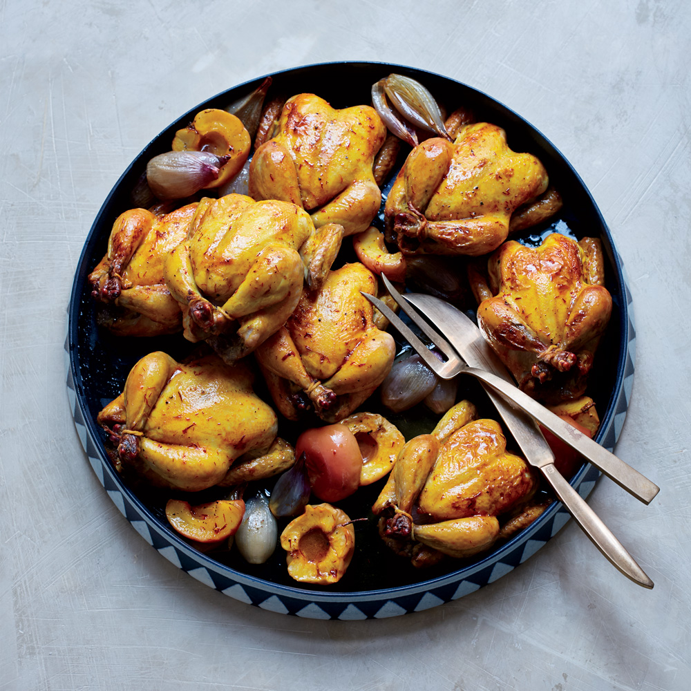 Saffron Butter-Basted Poussins with Apples (Joojeh ba Sib)