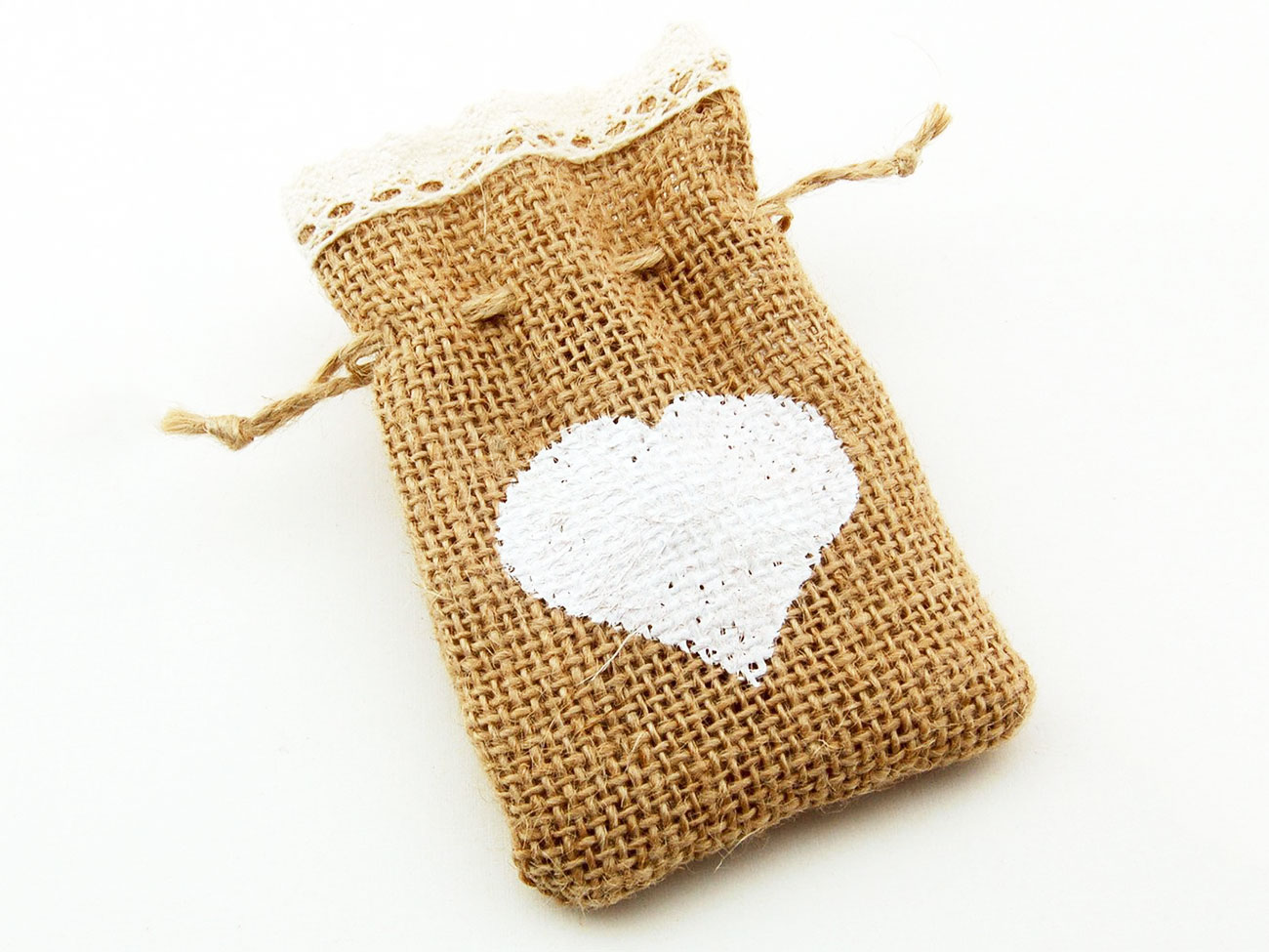 burlap bag with heart