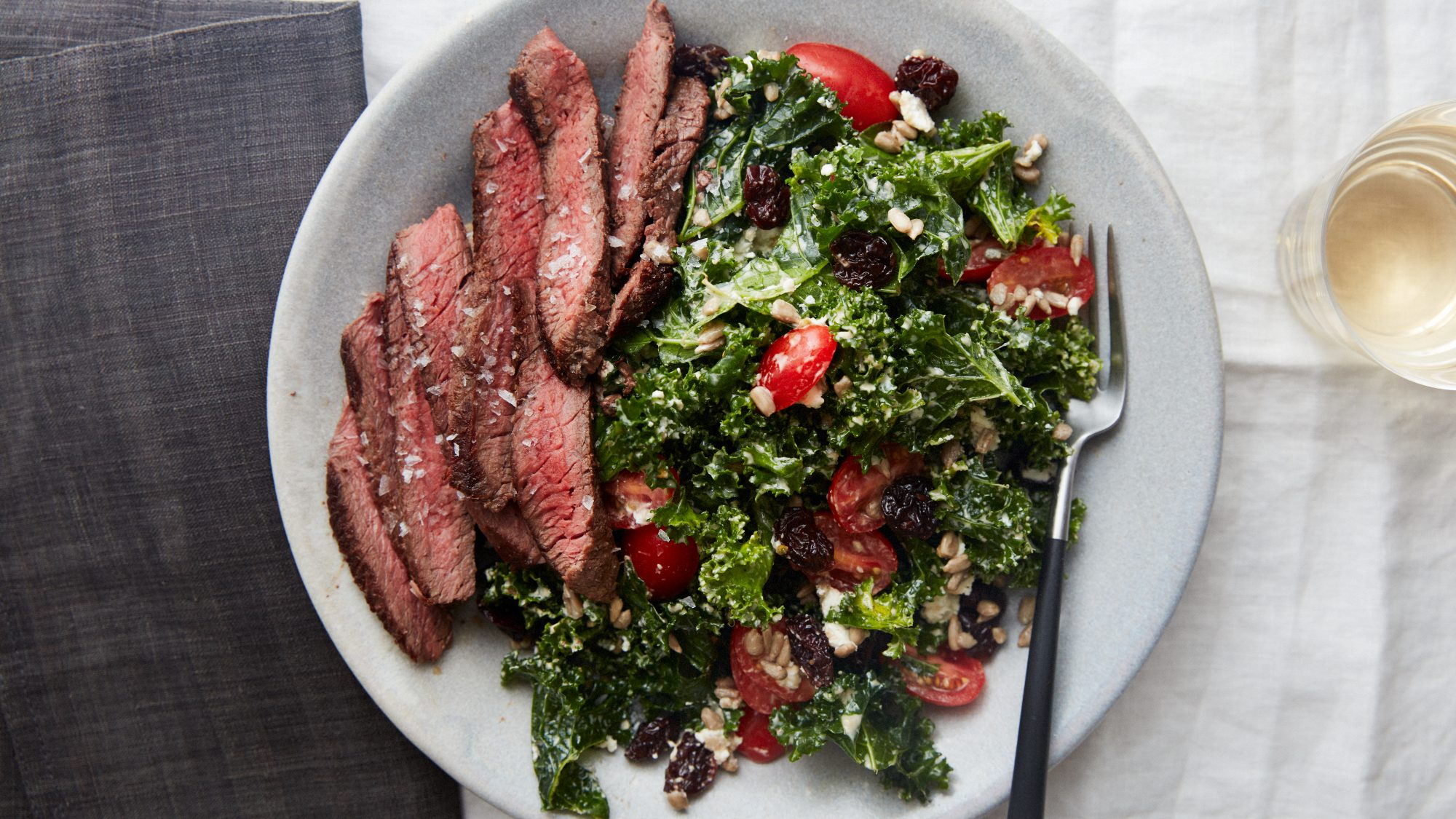 Plated Steak and Kale Salad