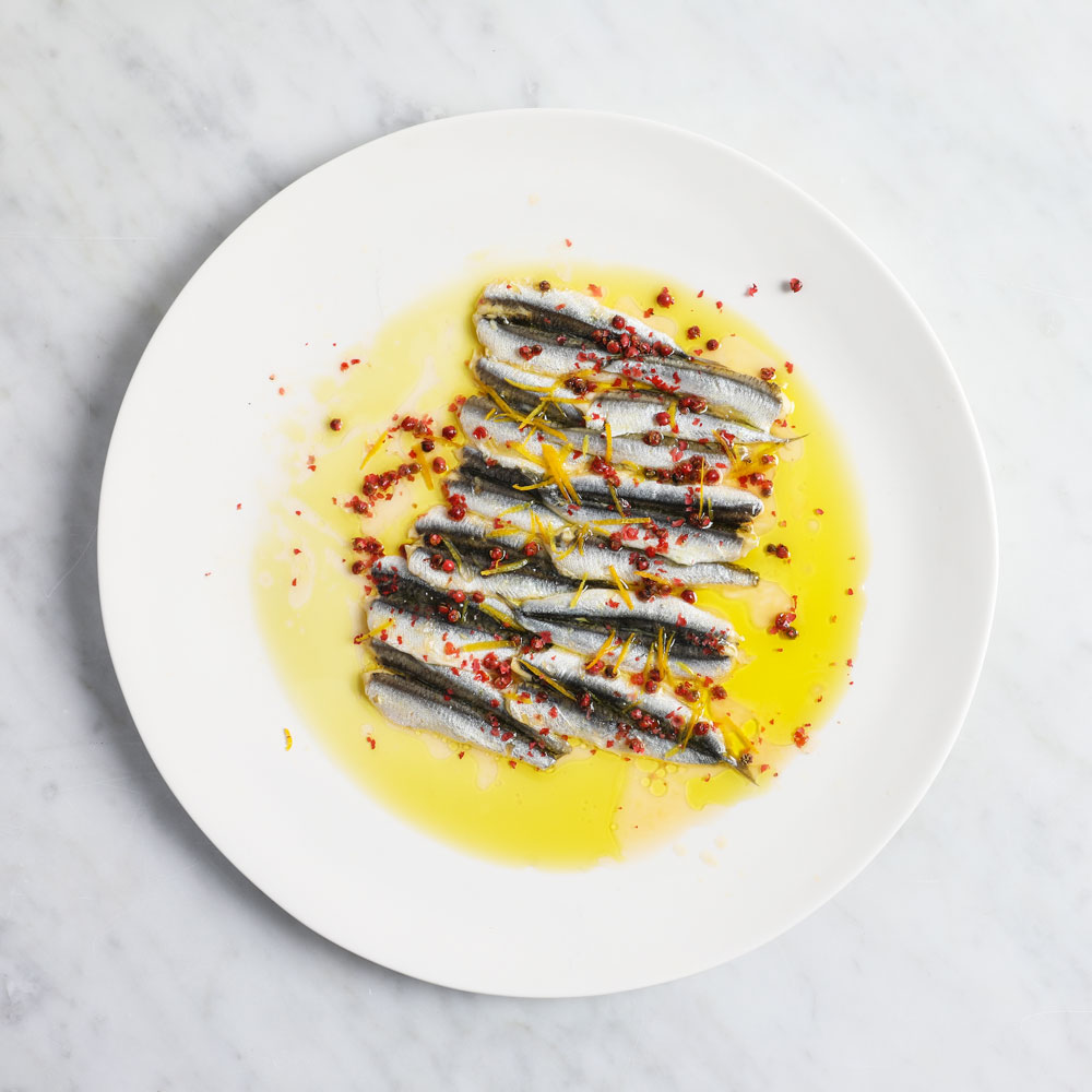 Cured Anchovies, Pink Peppercorns, Oranges