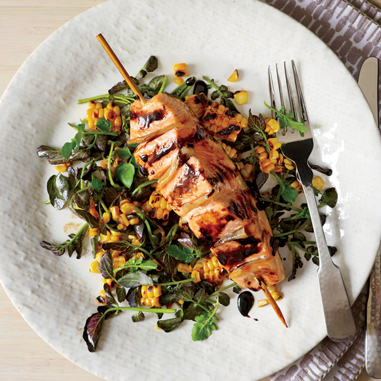 Gingered Salmon with Grilled Corn and Watercress Salad