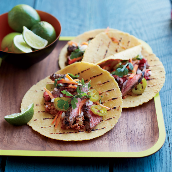Marinated Skirt Steak Tacos with Pecan-Chipotle Salad