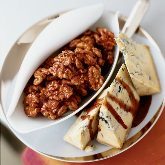 Thanksgiving Appetizer Port-Glazed Walnuts with Stilton