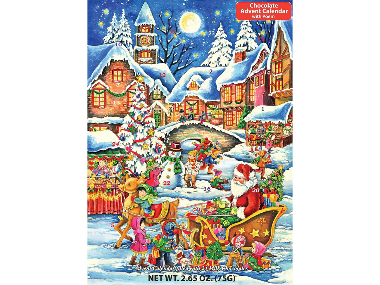 traditional santa claus advent calendar chocolate