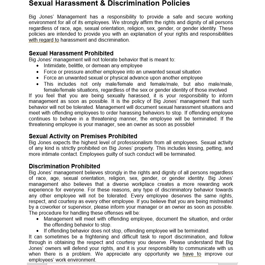 Harassment Discrimination Policy
