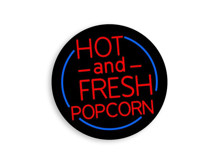 hot and fresh popcorn sign