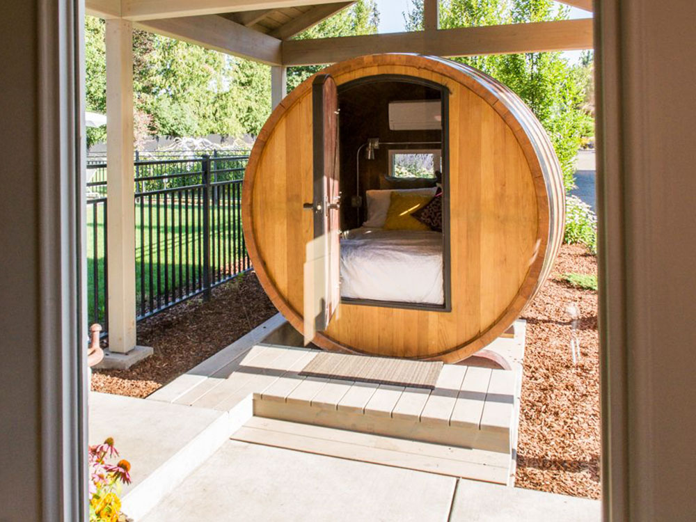 sleep inside a wine barrel