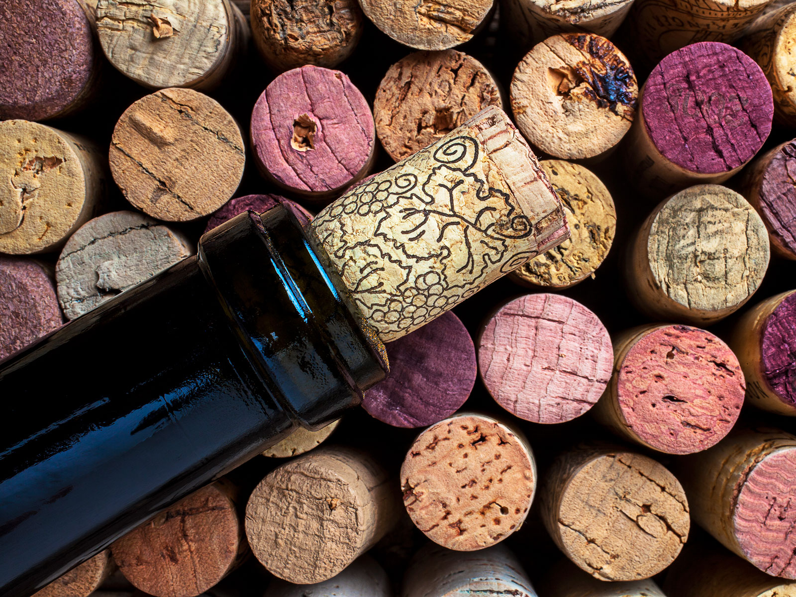 wine bottle with corks