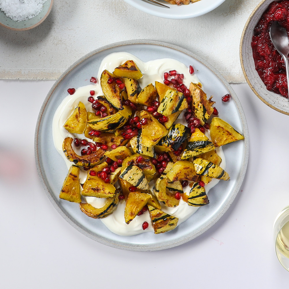 Delicata Squash with Labneh and Pomegranate Seeds