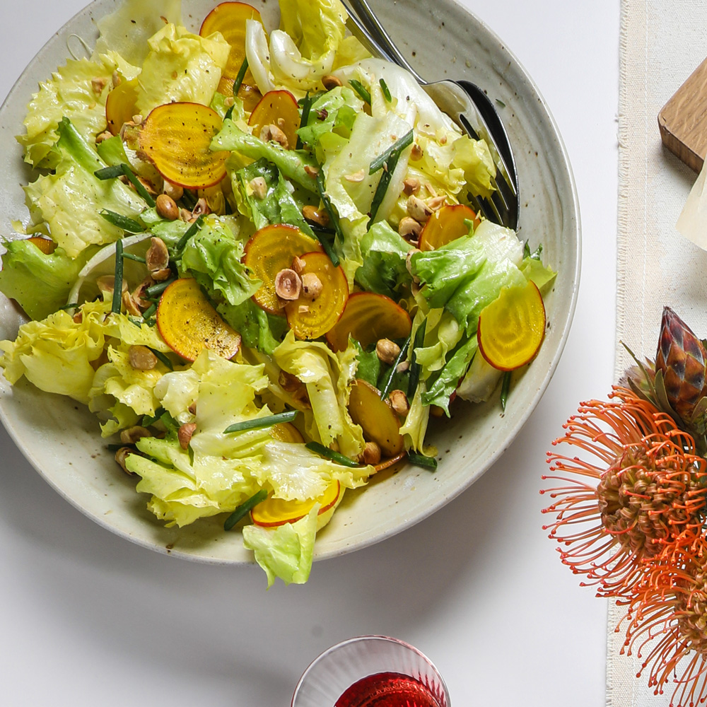 Escarole and Golden Beet Salad with Toasted Hazelnuts