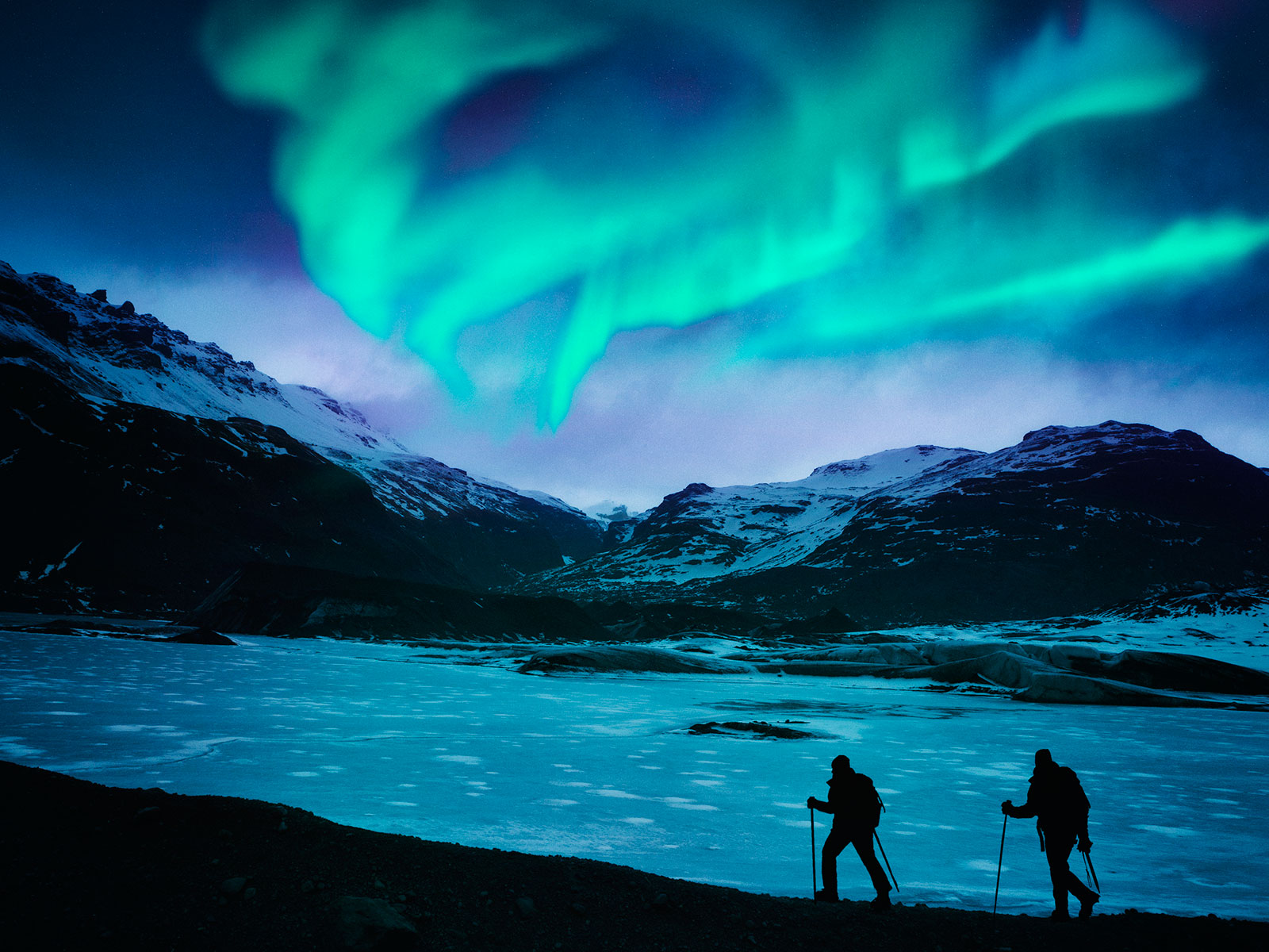 hikers in iceland