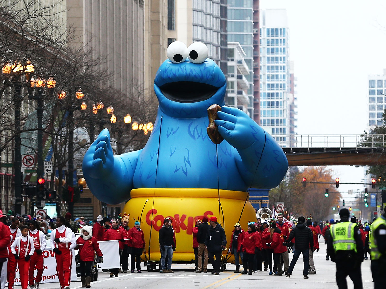 cookie monster float at parade