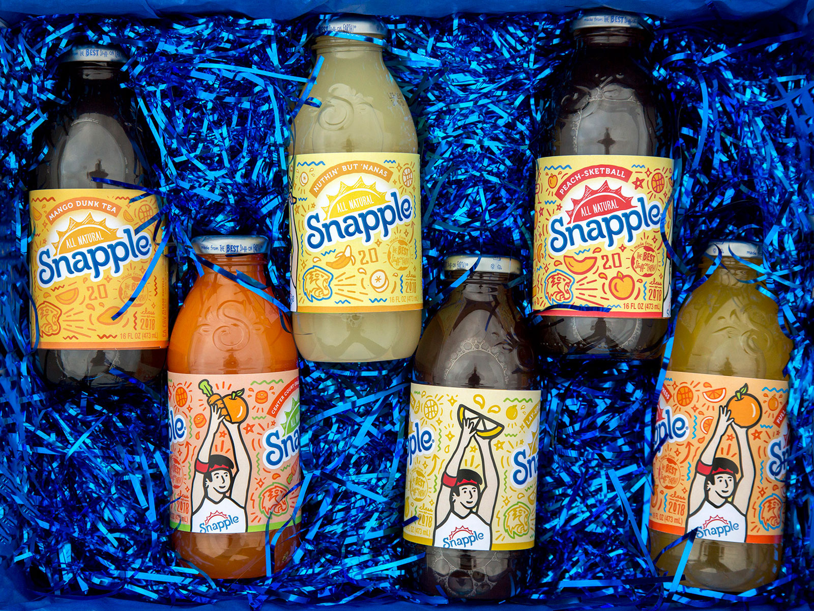 snapple bottles with mural