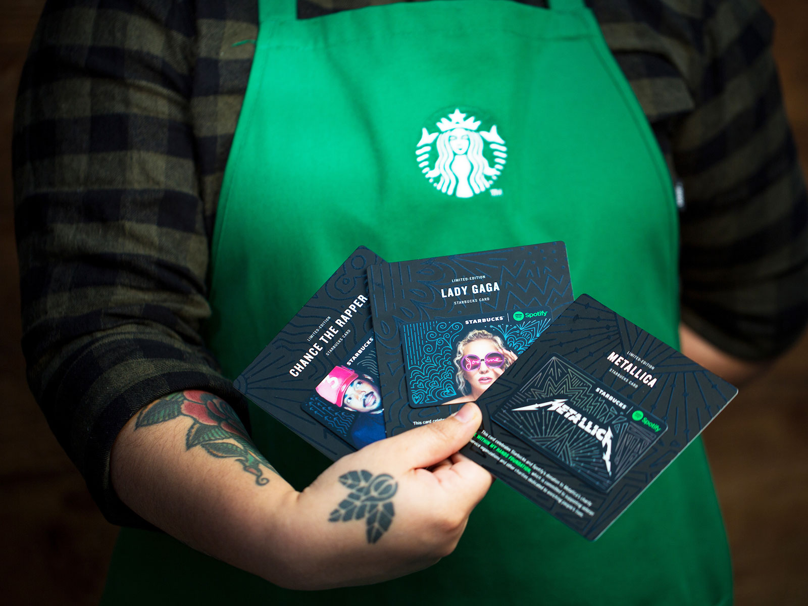 new gift cards at starbucks lady gaga metallica and chance the rapper