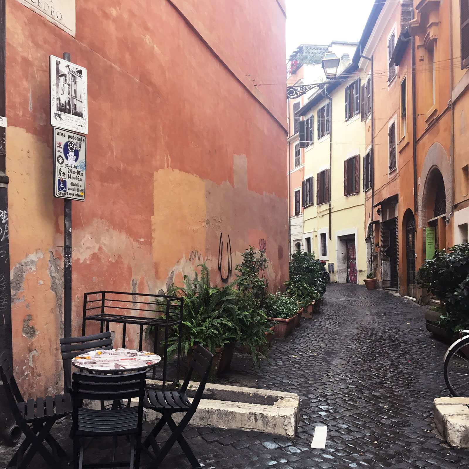 cobble stone street in rome