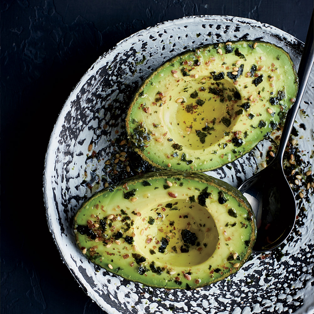 Avocado Halves with Flaxseed Furikake