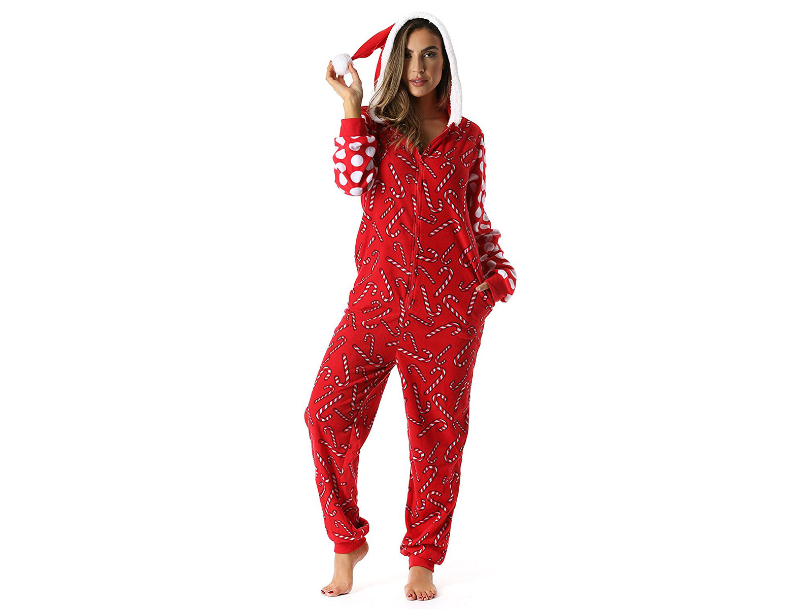 candy cane onsie with a hood