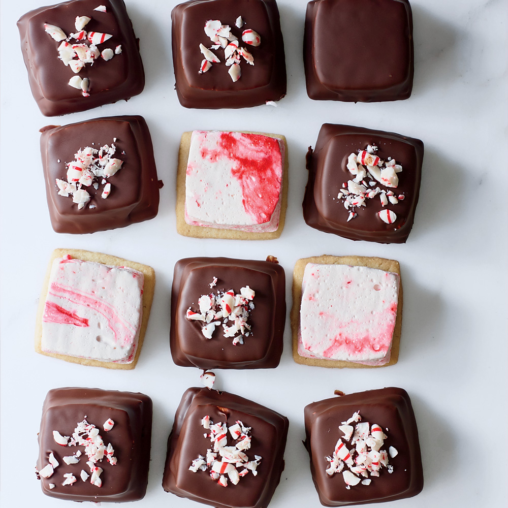 Chocolate Peppermint Marshmallow Cookies