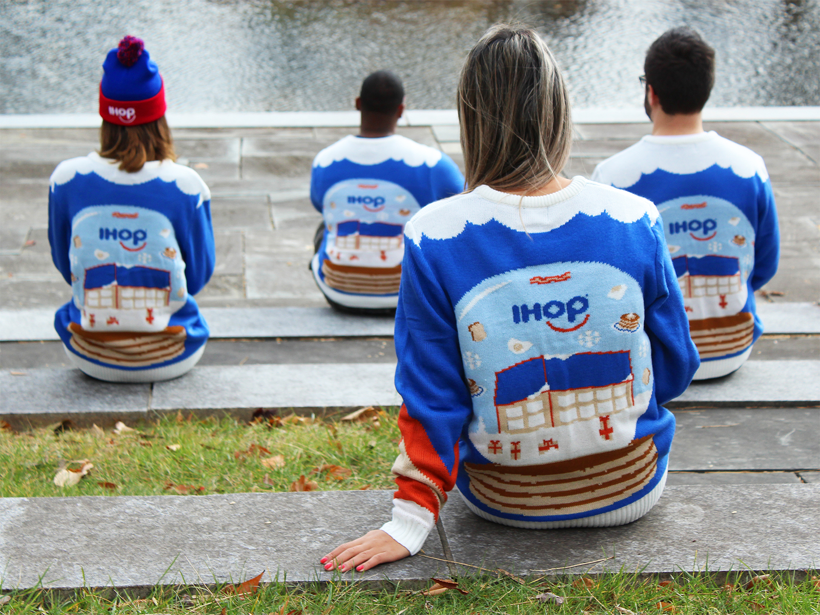 back of ihop holiday sweater