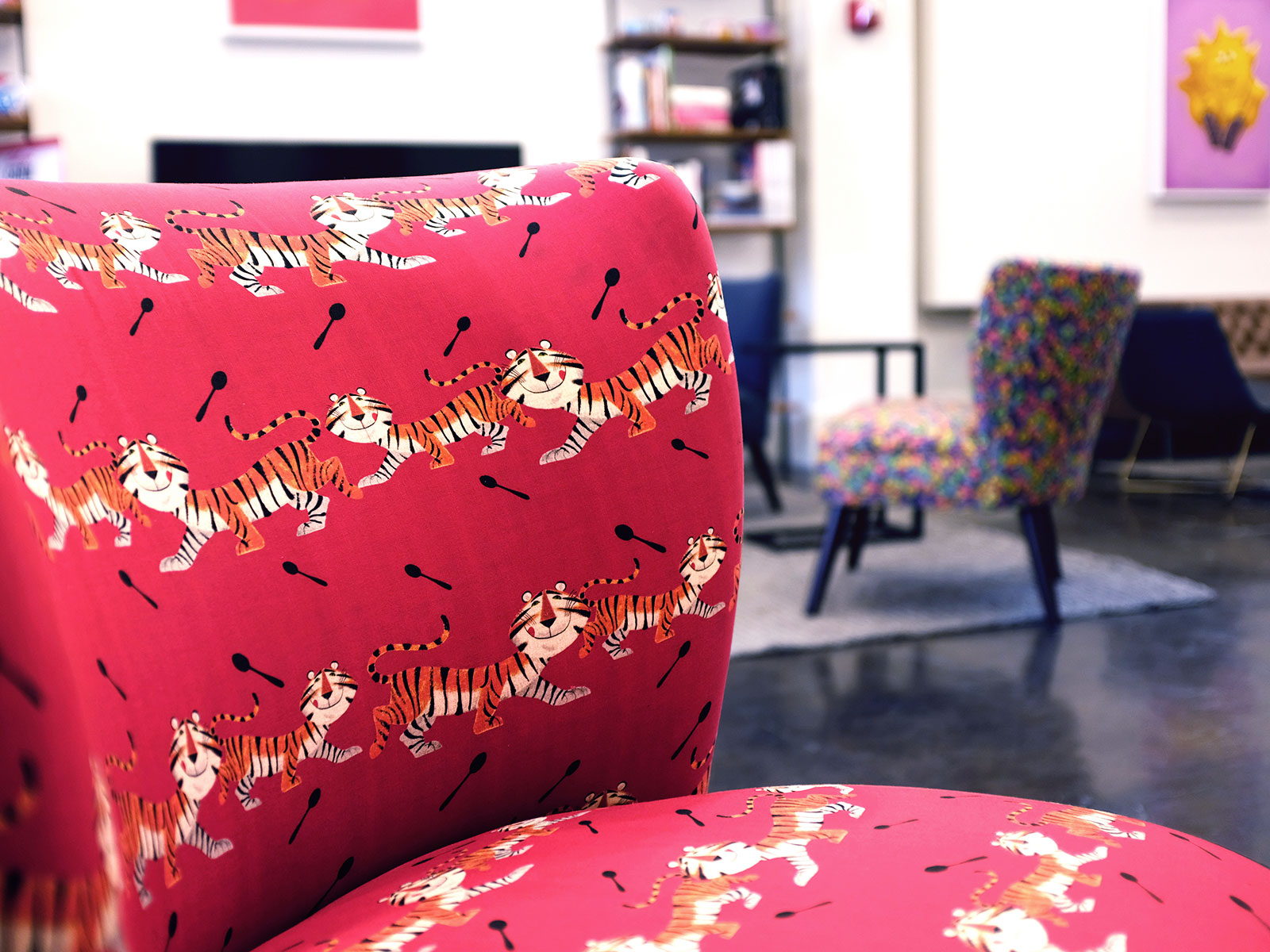 interior of kellogs nyc chair details