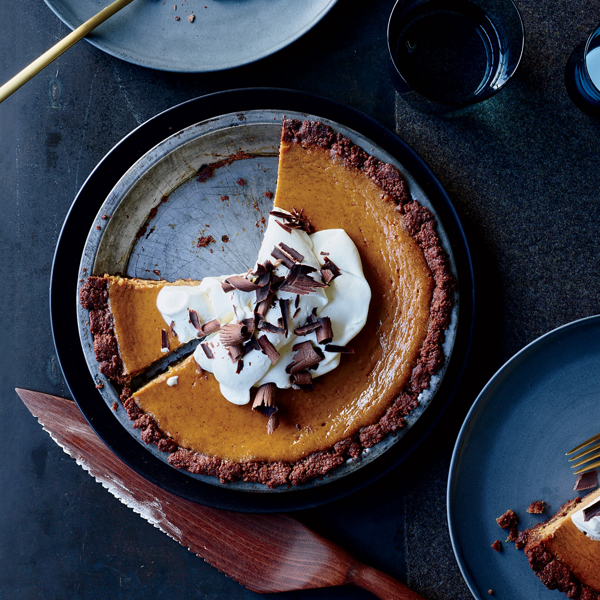 Pumpkin Cream Pie in a Chocolate Crust