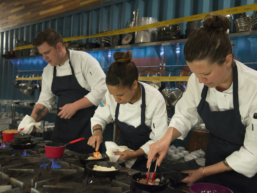 Carrie, Adrienne and Joe Flamm on Top Chef season 15