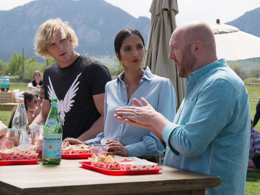 "Hosea Rosenberg and Logan Paul confer with Padma Lakshmi in episode 3 of ""Top Chef."""