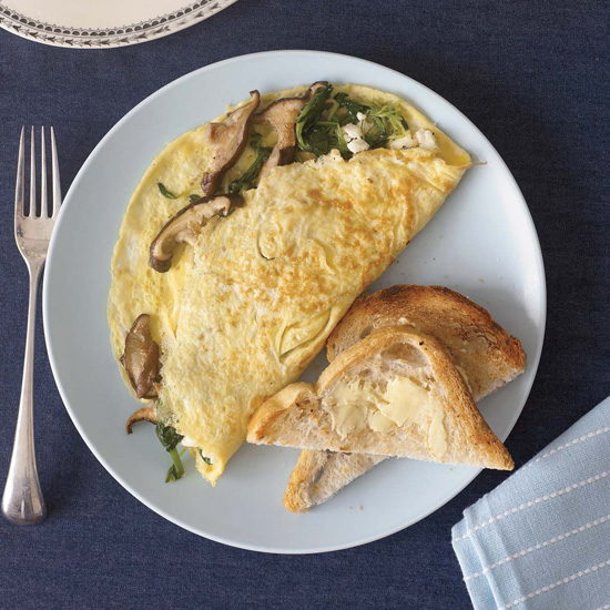 Wild Mushroom and Goat Cheese Omelets