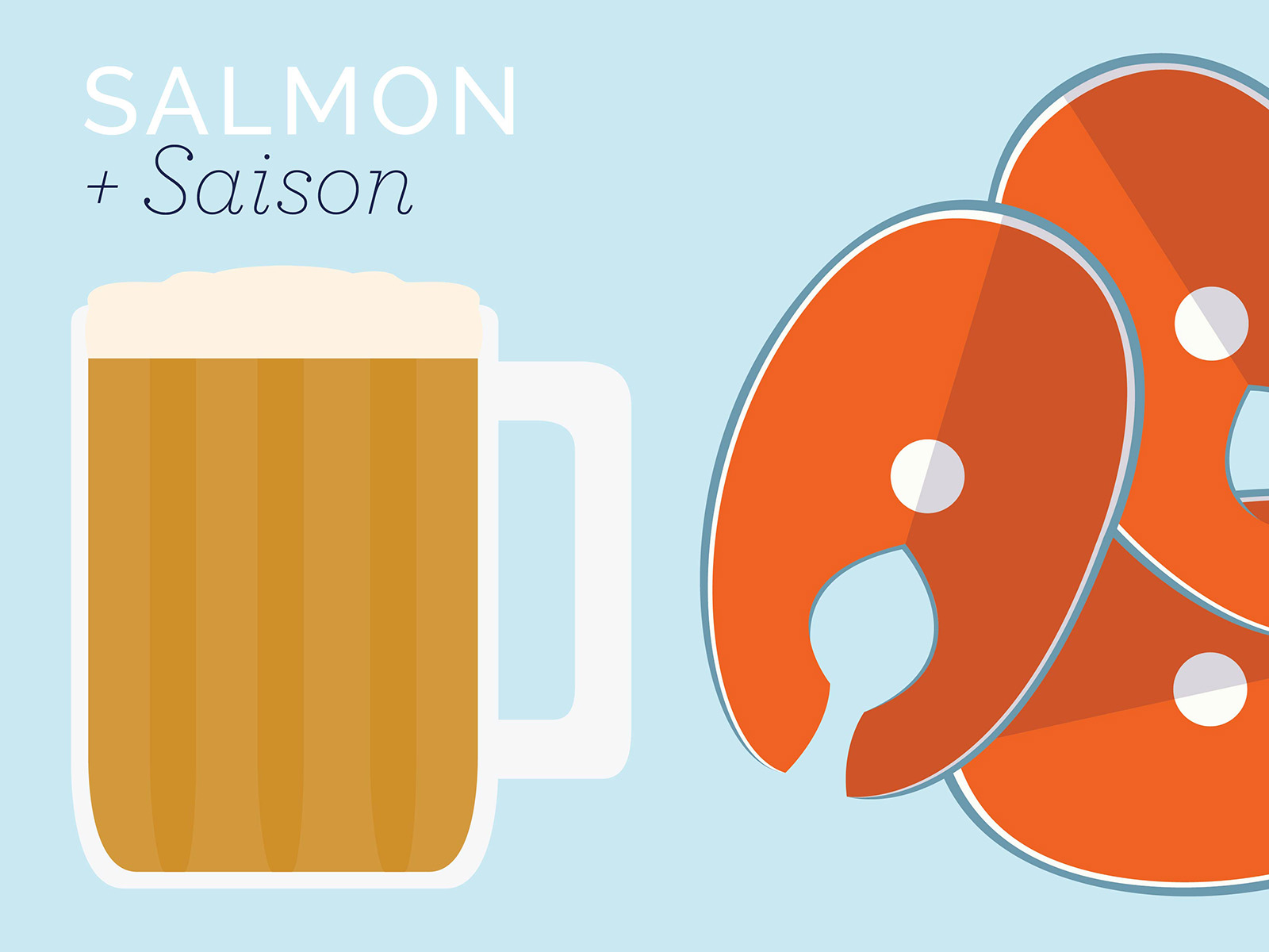 salmon seafood and saison beers