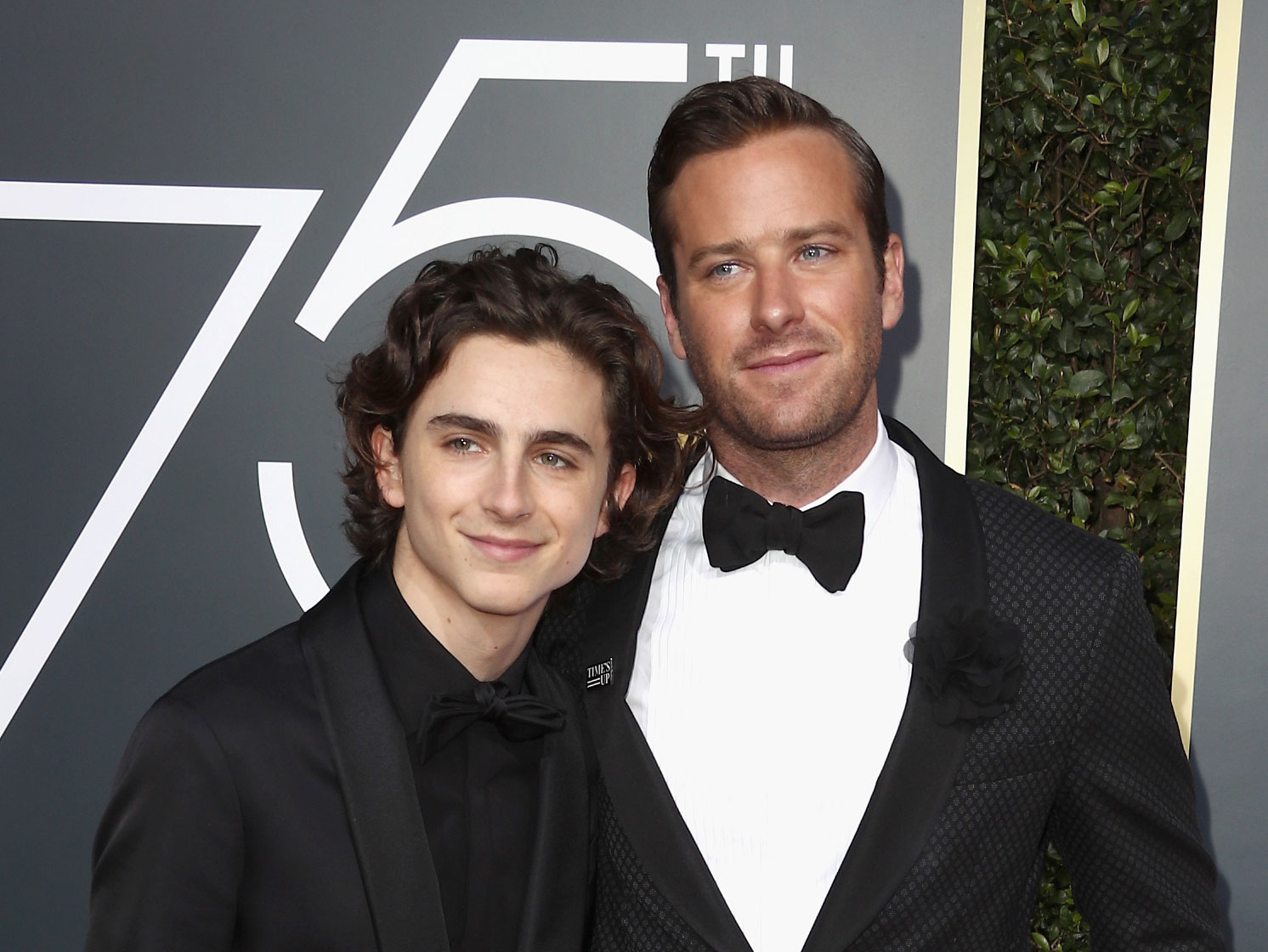 Timothee Chalamet and Armie Hammer attends The 75th Annual Golden Globe Awards at The Beverly Hilton Hotel on January 7, 2018 in Beverly Hills, California.