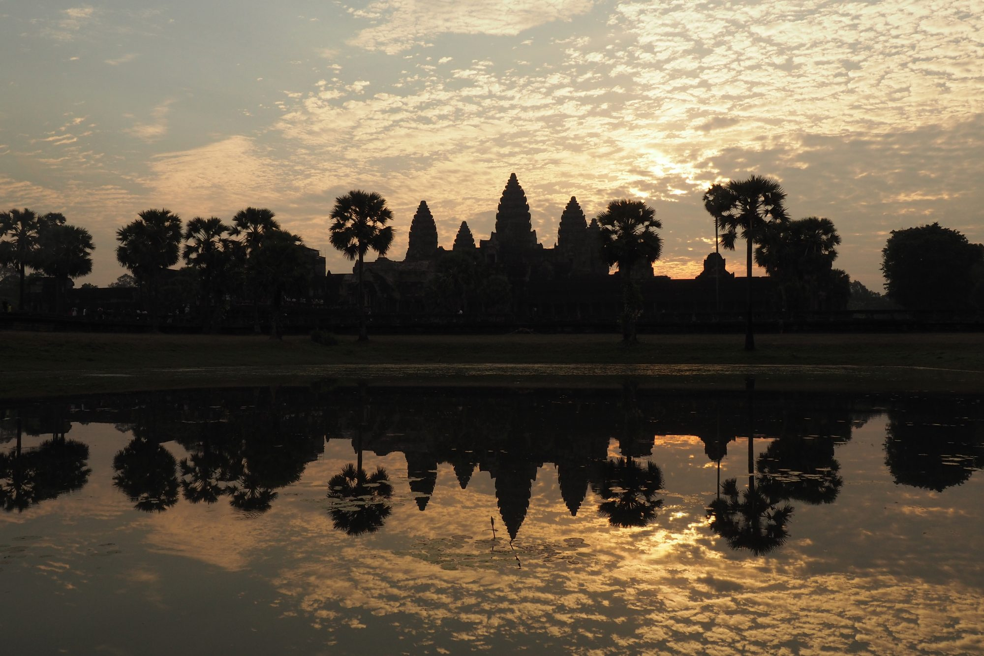 Angkor Wat at sunrise. The temple was built by the King