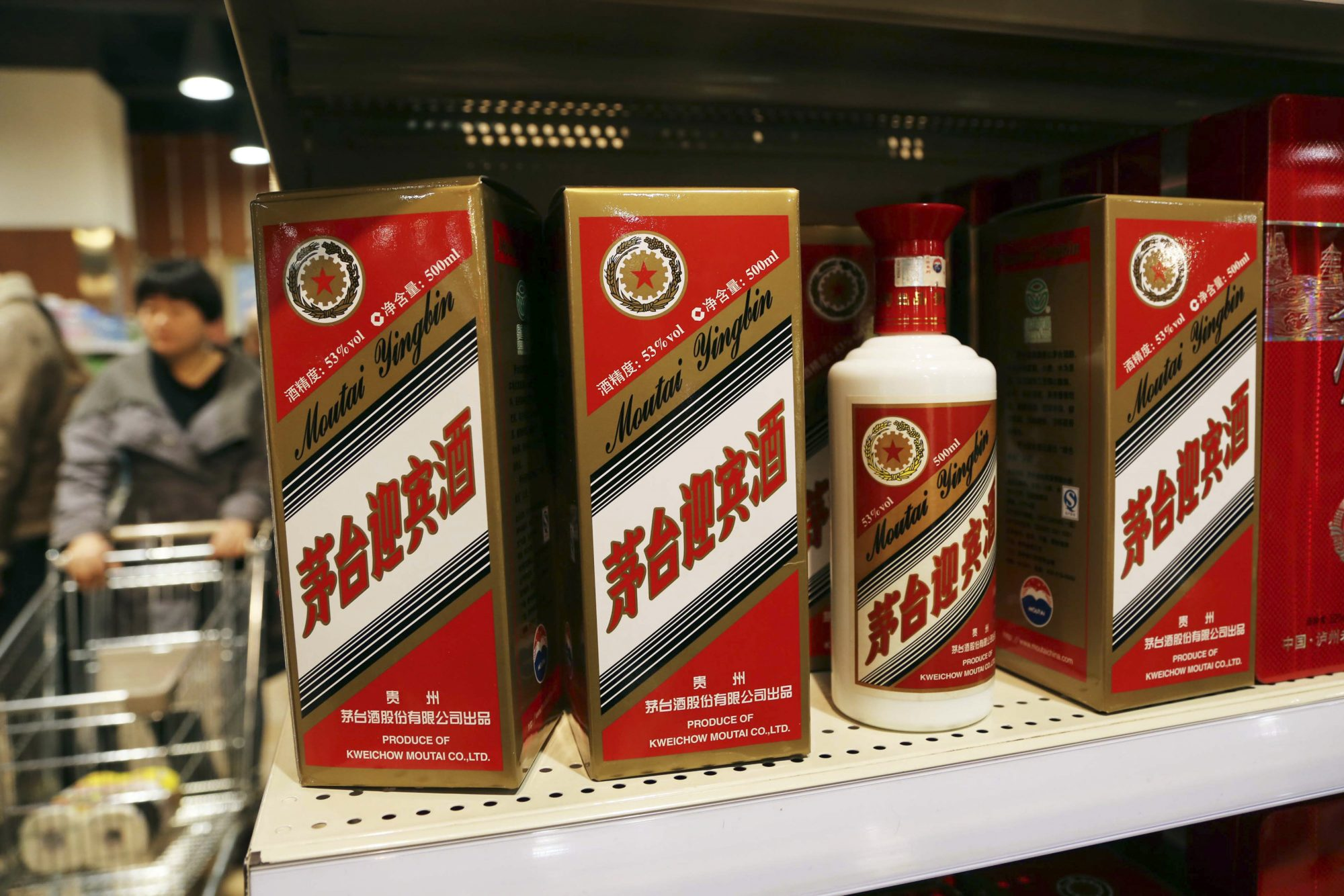 Moutai Liquors is seen on a shelf at a supermaket in Xuchang